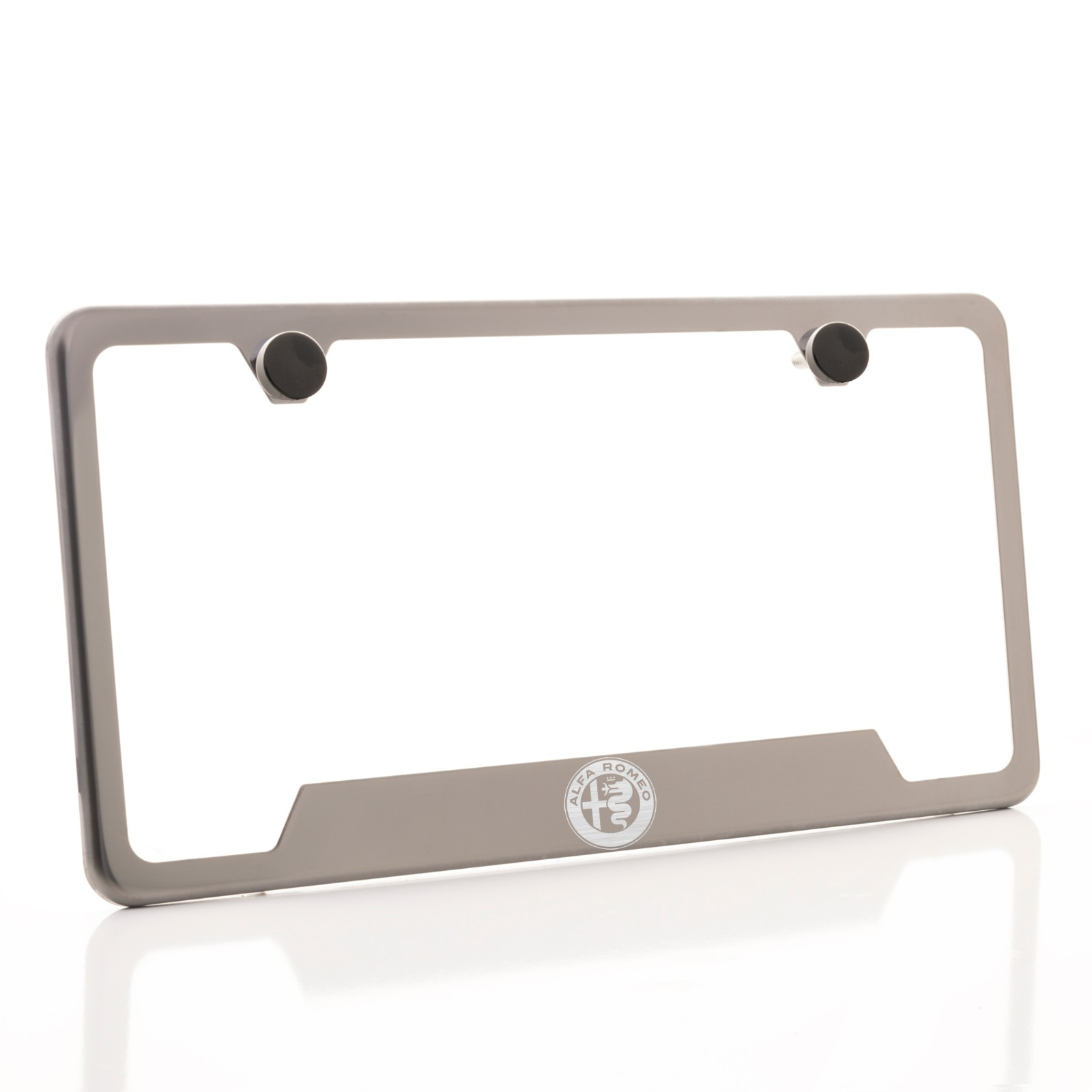 Fit Alfa Romeo Laser Etching Stainless Steel Black License Frame Metal Screw Cap